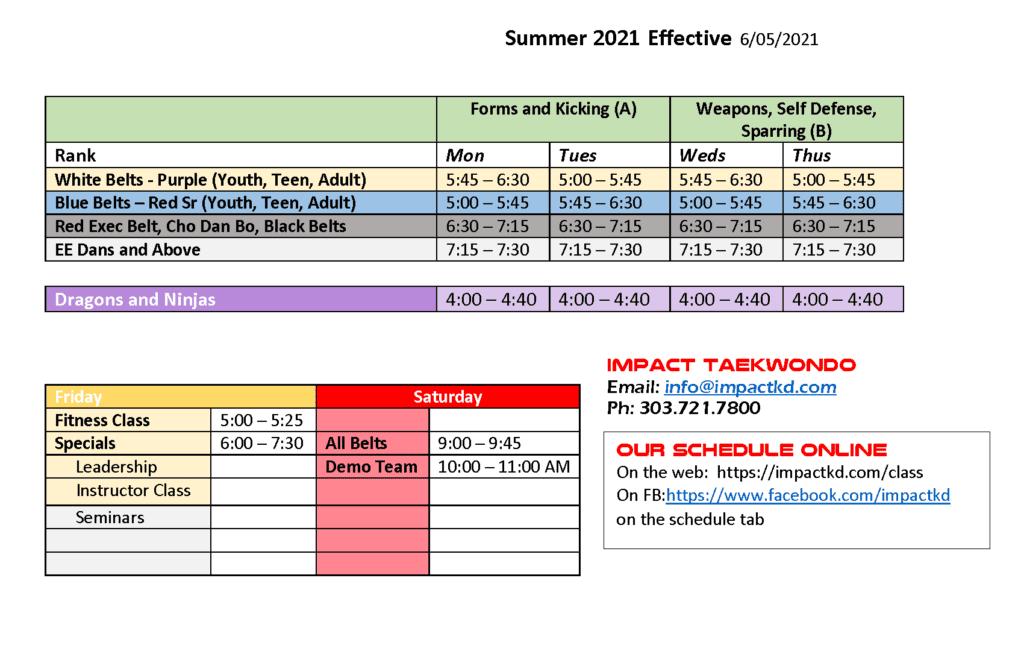 Impact HR Summer 2021 Schedule 1 1024x663, Impact Taekwondo Highlands Ranch CO